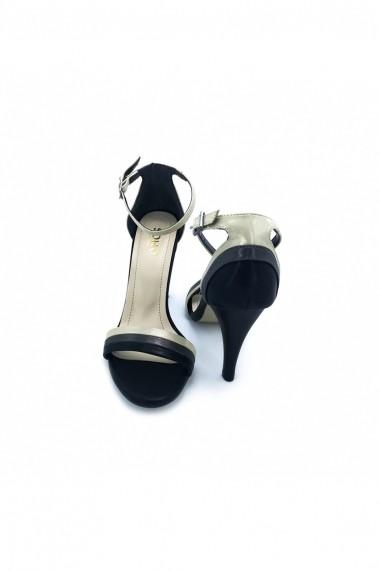 Sandale piele ecologica Torino 789 negre cu bej