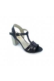 Sandale cu toc TORINO din piele ecologica, Negre