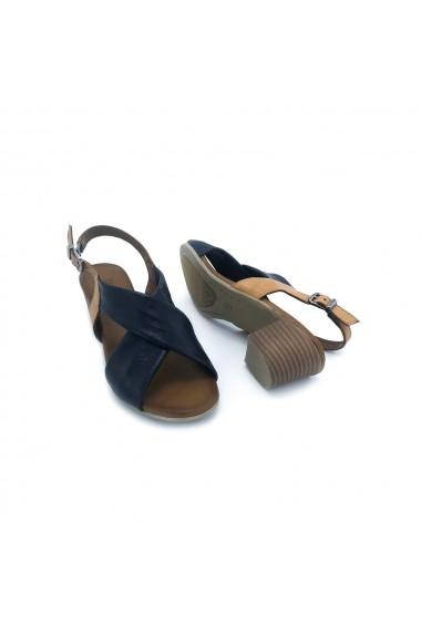 Sandale piele naturala Torino 803 maro cu bleumarin