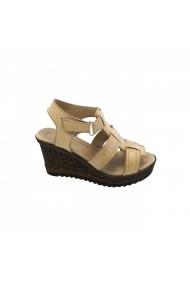Sandale cu toc cu platforma din piele Torino 0048 Bej