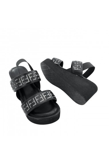 Papuci cu platforma Torino T-029 Negre