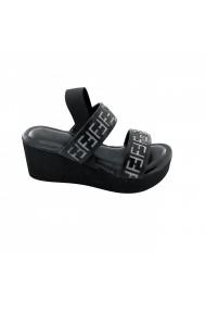 Sandale cu toc cu platforma Torino T-029 Negre