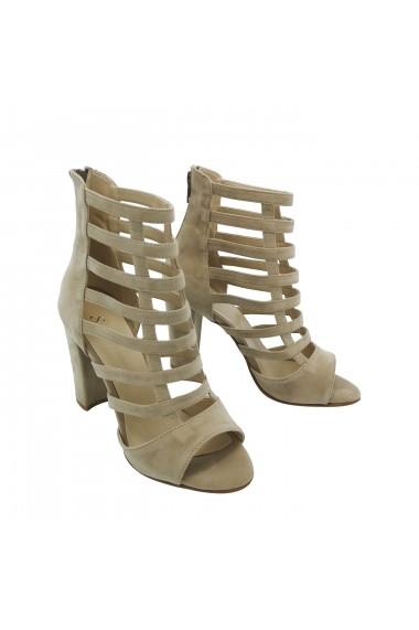Sandale cu toc TORINO din piele ecologica, Bej