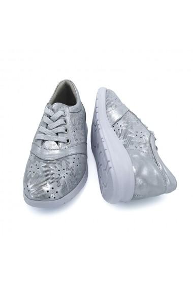Pantofi piele naturala Torino 9916 argintiu
