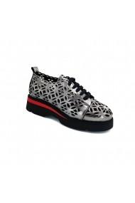 Pantofi piele naturala Torino 3118 argintii