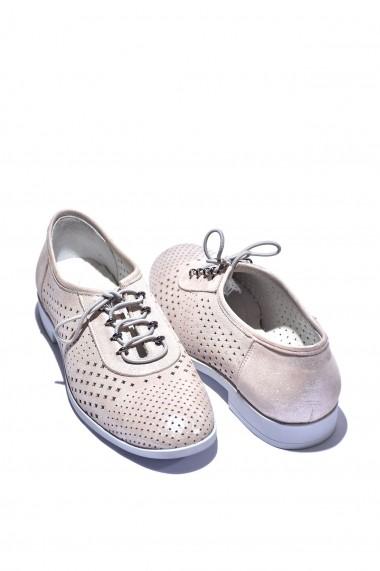 Pantofi piele naturala Torino 18365 roz pudra