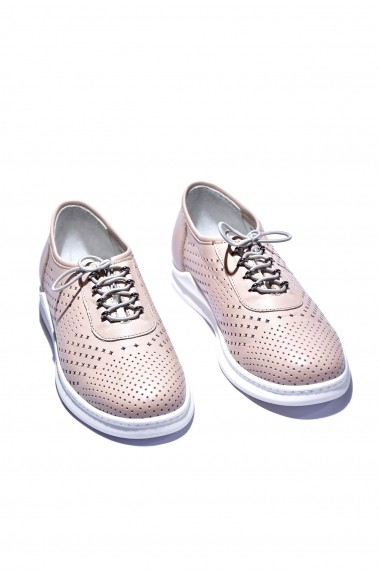 Pantofi piele naturala Torino 18606 roz pudra