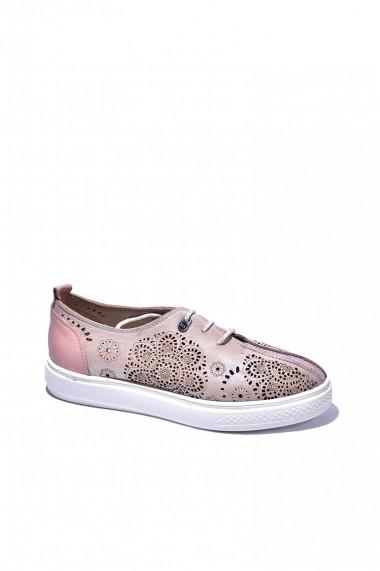 Pantofi piele naturala Torino 991 roz sidef