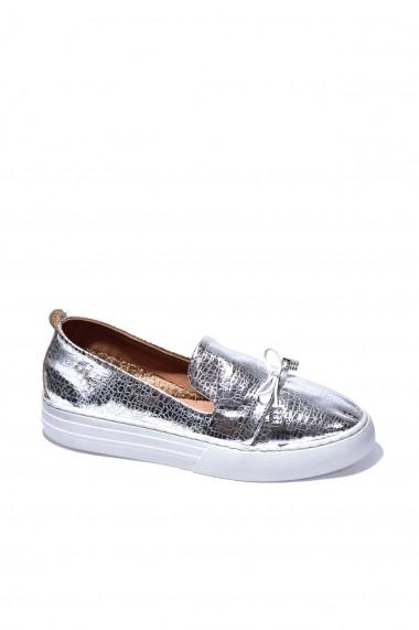 Pantofi piele naturala Torino 0511 argintiu