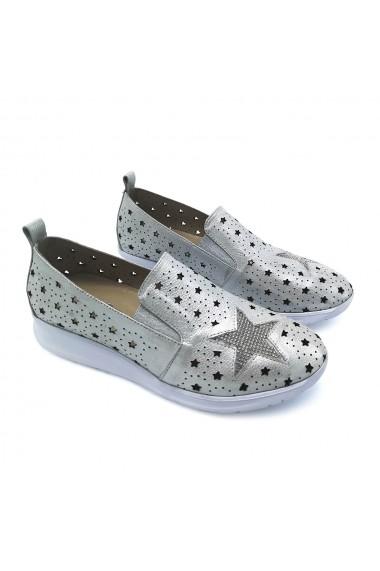 Pantofi piele naturala Torino 9915 Argintiu