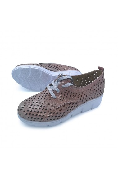 Pantofi piele naturala Torino 704K roz sidef