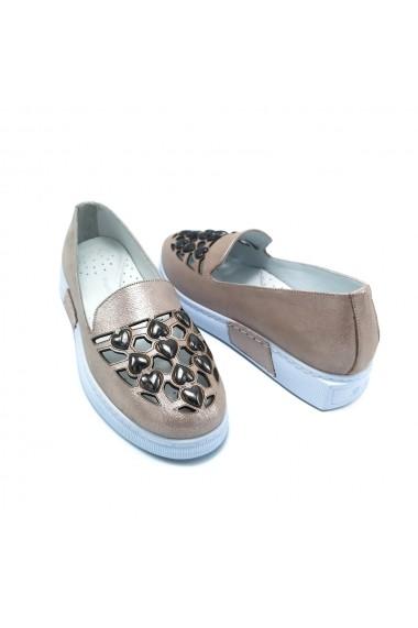 Pantofi piele naturala Torino 423 roz sidef