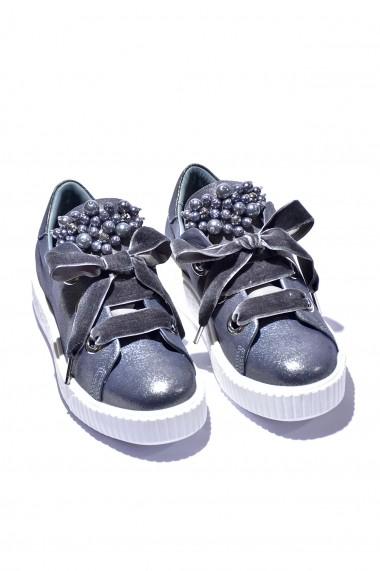 Pantofi piele naturala Torino 0643 argintiu