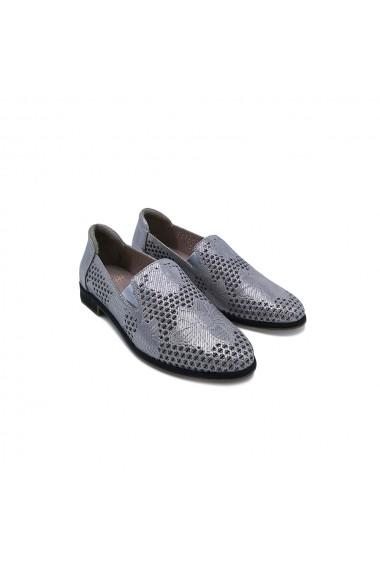 Pantofi piele naturala Torino 601 Argintiu