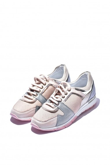 Pantofi piele naturala Torino 456 roz pudra
