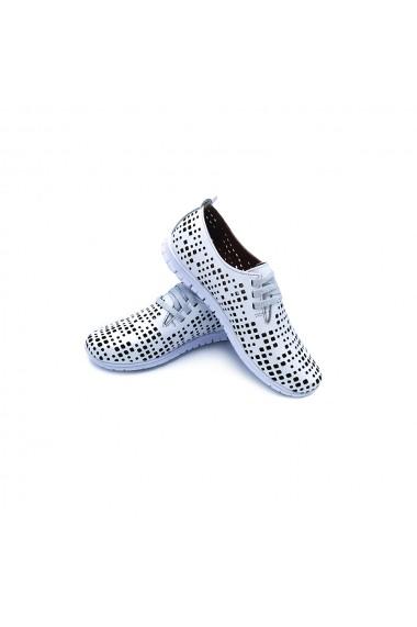 Pantofi piele naturala Torino 304 albi