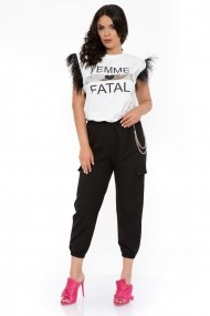 Pantaloni casual cu lant InnaB Joann Negru