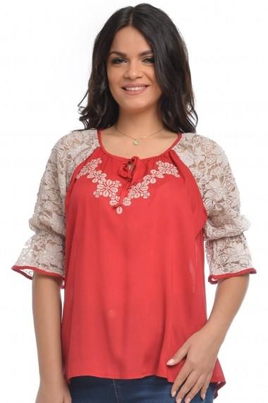Bluza Dress To Impress din vascoza brodata si dantela