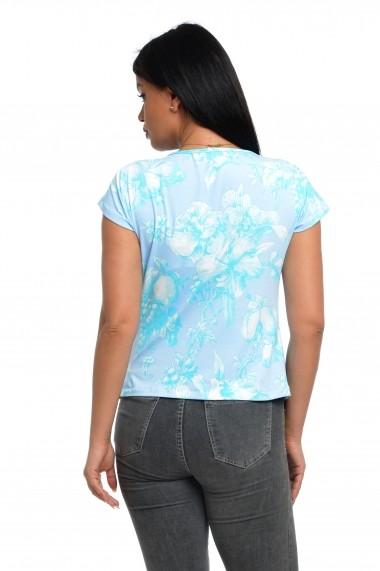 Bluza Dress To Impress cu fald in fata bleu