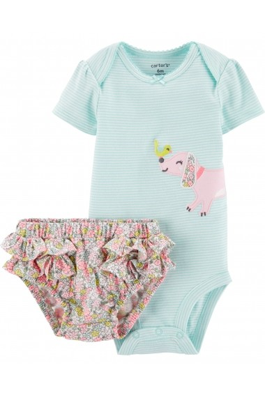 Set 2 Piese Carters body cu catel si chilotel floral bumbac