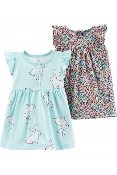 Set 2 Piese Rochite Carters floral & cu iepuras bumbac