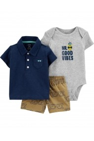 Set 3 Piese Vibes Carters tricou tip polo, pantaloni scurti si body bumbac