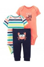 Set 3 Piese Crab Carters pantaloni lungi si body