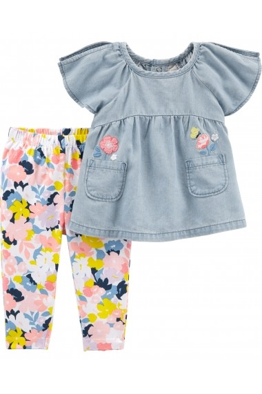 Set 2 Piese Floral Carters pantaloni si tricou
