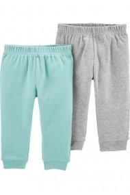 Set 2 piese pantaloni turcoaz/gri Carters 100% Bumbac Organic