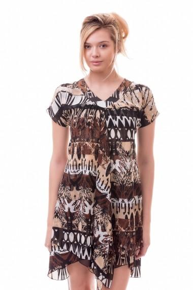 Rochie de zi scurta Giorgal model tribal Ritral maro