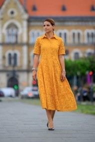 Риза-рокля Giorgal Liva, пресован памук, жълта
