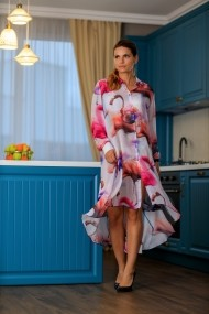 Rochie midi-camasa Giorgal de vara cu imprimeu de pasari Carola