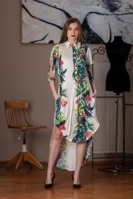 Rochie de zi midi Giorgal asimetrica din bumbac Deima Florala