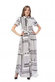 Rochie de zi lunga Giorgal cu imprimeu alb-negru Nissia alba