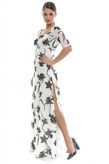 Rochie de seara lunga Giorgal din voal Maxilian alba, floral