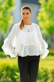 Bluza chic cu volanase din voal alb, Massima