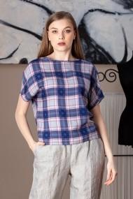 Bluza Giorgal imprimeu in carouri Gial albastra