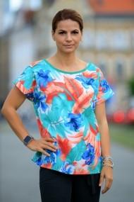 Tricou Giorgal colorat cu model floral Aniela