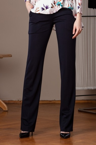 Pantaloni largi Giorgal din tricot elastic Ana albastri