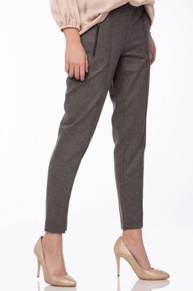 Pantaloni drepti Giorgal cu banda elastica Secca gri