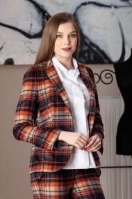 Sacou Giorgal din lana in carouri Lallux multicolor