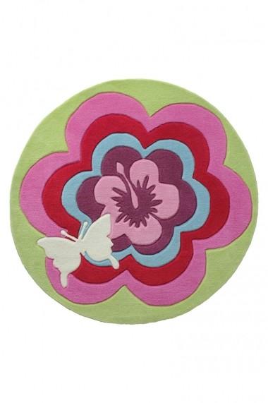Covor Esprit Copii & Tineret Fantasy Flower Acril Rotund Multicolor 100x100 cm