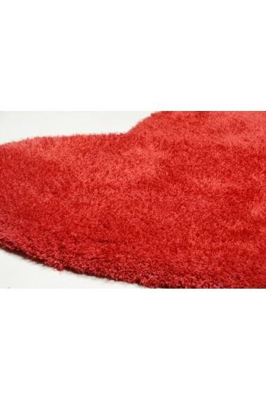Covor Tom Tailor Shaggy Soft Forma Inima Rosu 100x100 cm