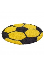 Covor Decorino Shaggy Fotbal Rotund Galben 100x100 cm