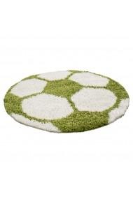 Covor Decorino Shaggy Fotbal Rotund Verde 120x120 cm