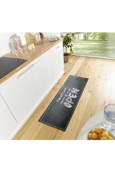 Covor Zala Living Bucatarie Modern & Geometric Cook & Clean Negru 50x150 cm