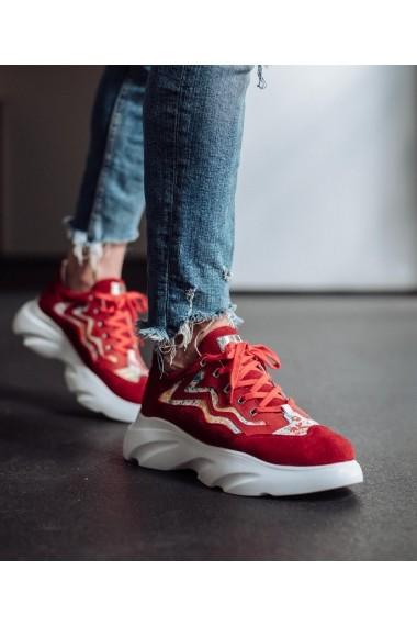 Pantofi sport Bigiottos Shoes din piele intoarsa rosie