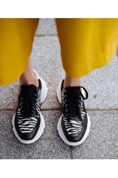 Pantofi sport Bigiottos din piele naturala neagra zebra