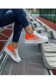 Pantofi sport casual Bigiottos Shoes alb si portocaliu neon