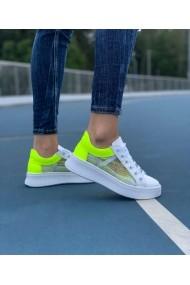 Pantofi sport casual Bigiottos Shoes alb si verde neon